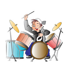 boy playing drums vector image vector image