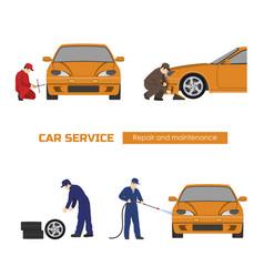Car repair and maintenance vehicle workshop vector