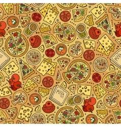 Cartoon cute hand drawn pizza seamless pattern vector
