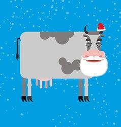 Cow Santa Claus Farm animal with beard and vector image