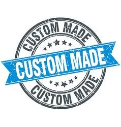 Custom made blue round grunge vintage ribbon stamp vector