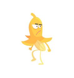 Cute angry banana cartoon funny fruit character vector