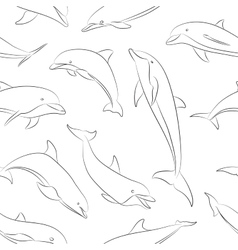 Dolphins set pattern vector image vector image