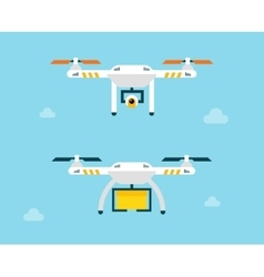 Drone with camera and box air photography vector