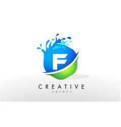 F letter logo blue green splash design vector