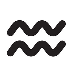 flat black aquarius sign icon vector image