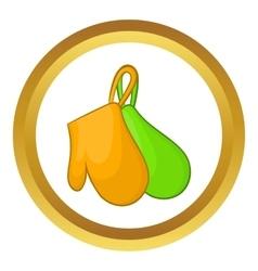 Green and orange kitchen gloves icon vector