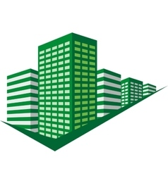Green sign with skyscrapers vector image