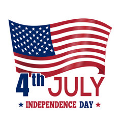 Independence day design with the us flag 4th jul vector