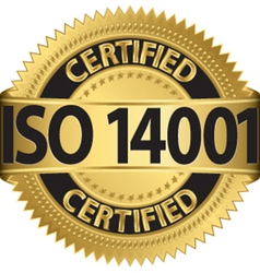 Iso 14001 certified golden label vector