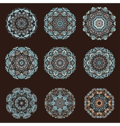Mandalas collection Hand drawn background vector image