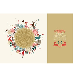Merry Christmas vintage circle composition vector image vector image