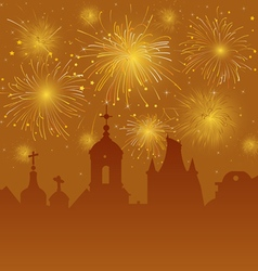 Old cityscape with celebration fireworks vector