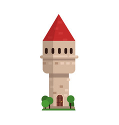 old stone tower with red roof medieval vector image vector image