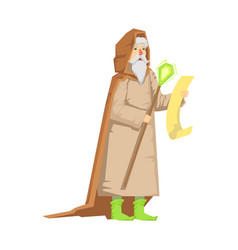 old wizard holding magic staff colorful fairy vector image vector image