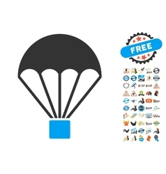 Parachute icon with 2017 year bonus symbols vector