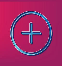 Positive symbol plus sign blue 3d printed vector