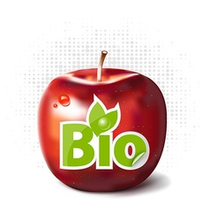Red apple with bio label vector