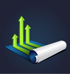 roll of blue paper with graph or diagram vector image vector image