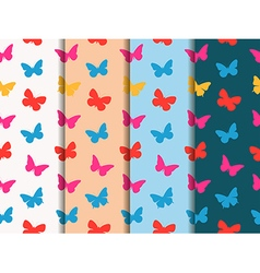 Set of seamless patterns multicolor butterflies vector