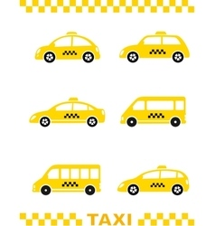 Set of taxi car and stripe vector