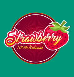 strawberry fruit label vector image vector image
