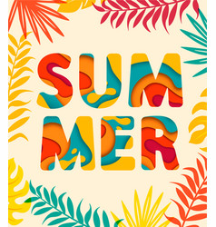 Summer card with tropical leaves on background vector