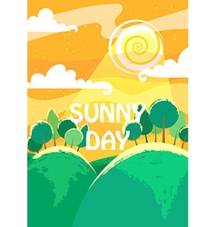 Sunny day landscape a4 proportions vector