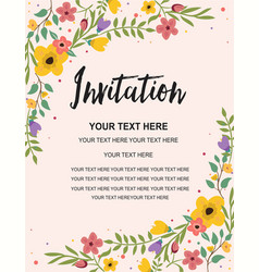 Vintage floral greeting invitation card template vector