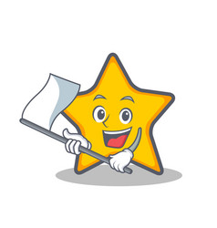With flag star character cartoon style vector