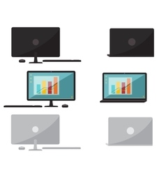 Set of flat design computer and laptop vector