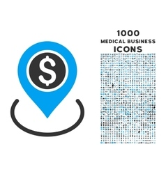 Bank place icon with 1000 medical business icons vector