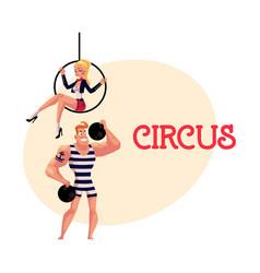 Circus performers - strongman and acrobat gymnast vector