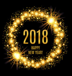 2018 happy new year glowing gold background vector