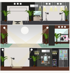Set of fashion interior posters banners in vector