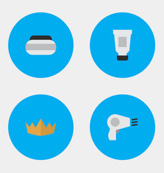 Set of simple elegance icons elements crown vector