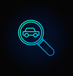 Magnifying glass with a car icon vector