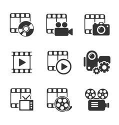 Media icon pack on white elements vector