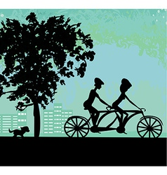 Couple biking in the city vector