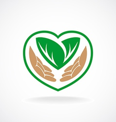 Nature care logo Grown with love sign vector image