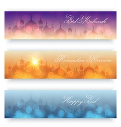 Blurred background with mosques and lights vector