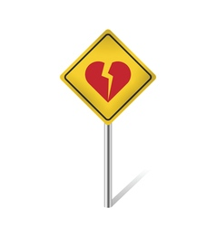 Broken heart traffic sign vector