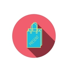 Present shopping bag icon gift handbag sign vector