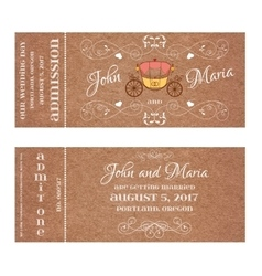 Ticket for Wedding Invitation with retro carriage vector image