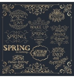 Set of golden headlines with spring quotes vector
