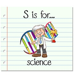 Flashcard letter s is for science vector