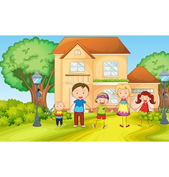 Family living in the house vector