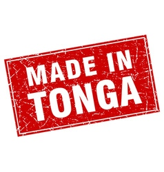 Tonga red square grunge made in stamp vector