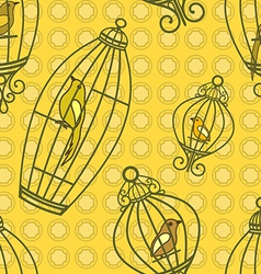 Bird in birdcages pattern vector