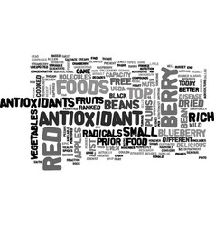 Antioxidant and free radicals text word cloud vector